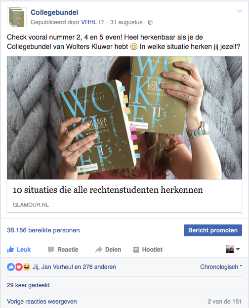 Collegebundel Facebook