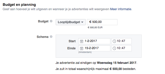 facebook advertising budget en planning