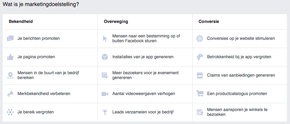 facebook advertising doelstelling
