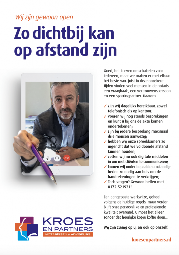 Advertentie-regionale-bladen-Kroes-en-Partners-communicatie-Corona
