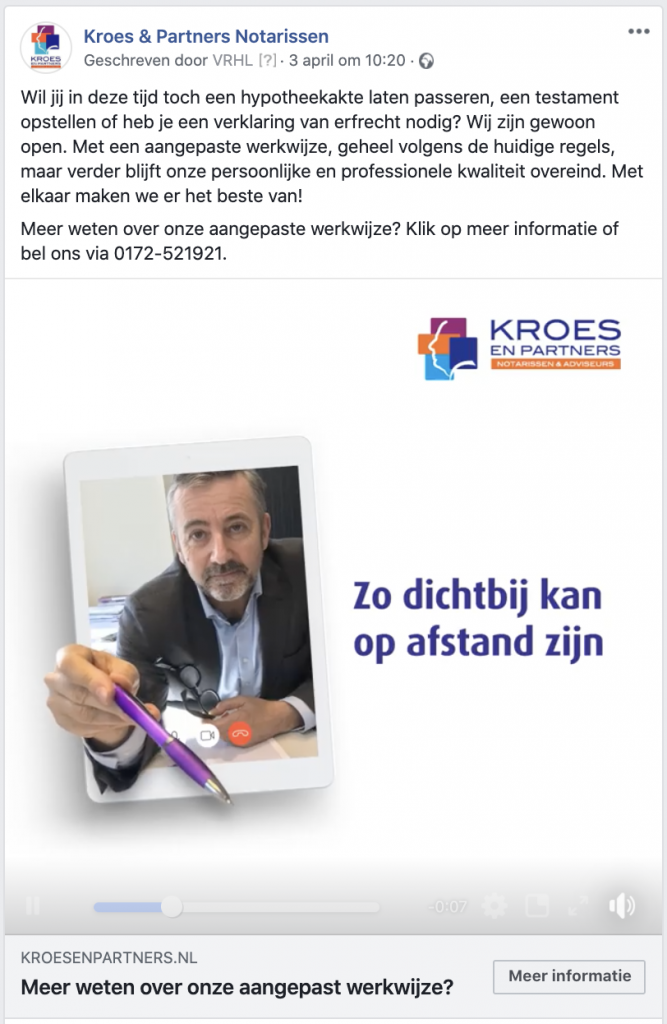 Facebook-advertentie-Kroes-en-Partners-communicatie-Corona